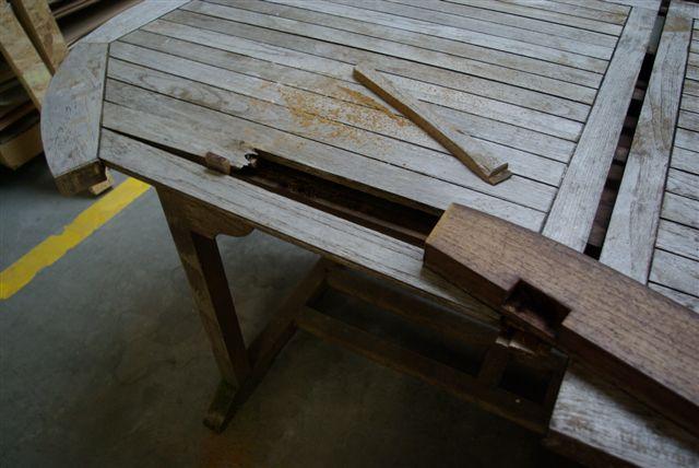 Tafels teak tafels reparatie en onderhoud ritmeester for Tafel schuren en olien